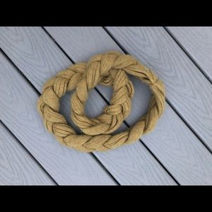 Anthropologie lime green braided infinity scarf